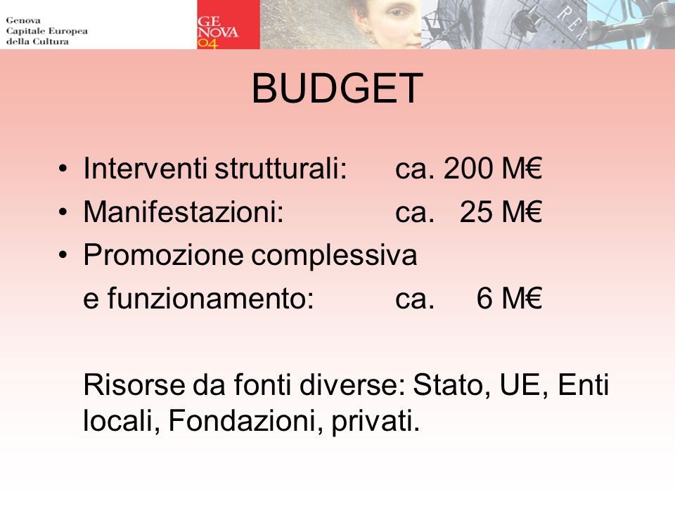 BUDGET Interventi strutturali: ca. 200 M Manifestazioni: ca. 25 M Promozione complessiva e funzionamento: ca. 6 M Risorse da fonti diverse: Stato, UE,