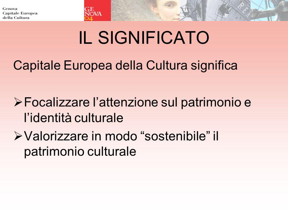 IL SIGNIFICATO Capitale Europea della Cultura significa Focalizzare lattenzione sul patrimonio e lidentità culturale Valorizzare in modo sostenibile il patrimonio culturale