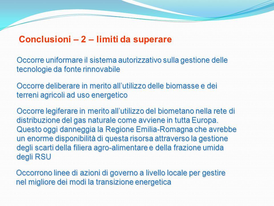 Conclusioni – 2 – limiti da superare Occorre uniformare il sistema autorizzativo sulla gestione delle tecnologie da fonte rinnovabile Occorre delibera