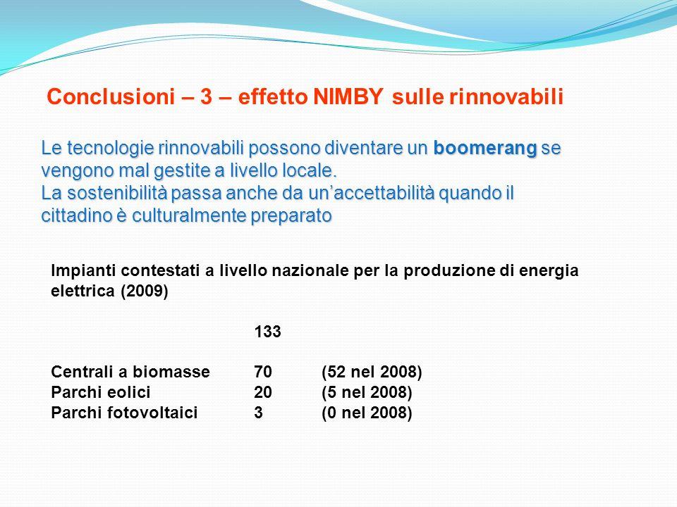 Conclusioni – 3 – effetto NIMBY sulle rinnovabili Le tecnologie rinnovabili possono diventare un boomerang se vengono mal gestite a livello locale. La