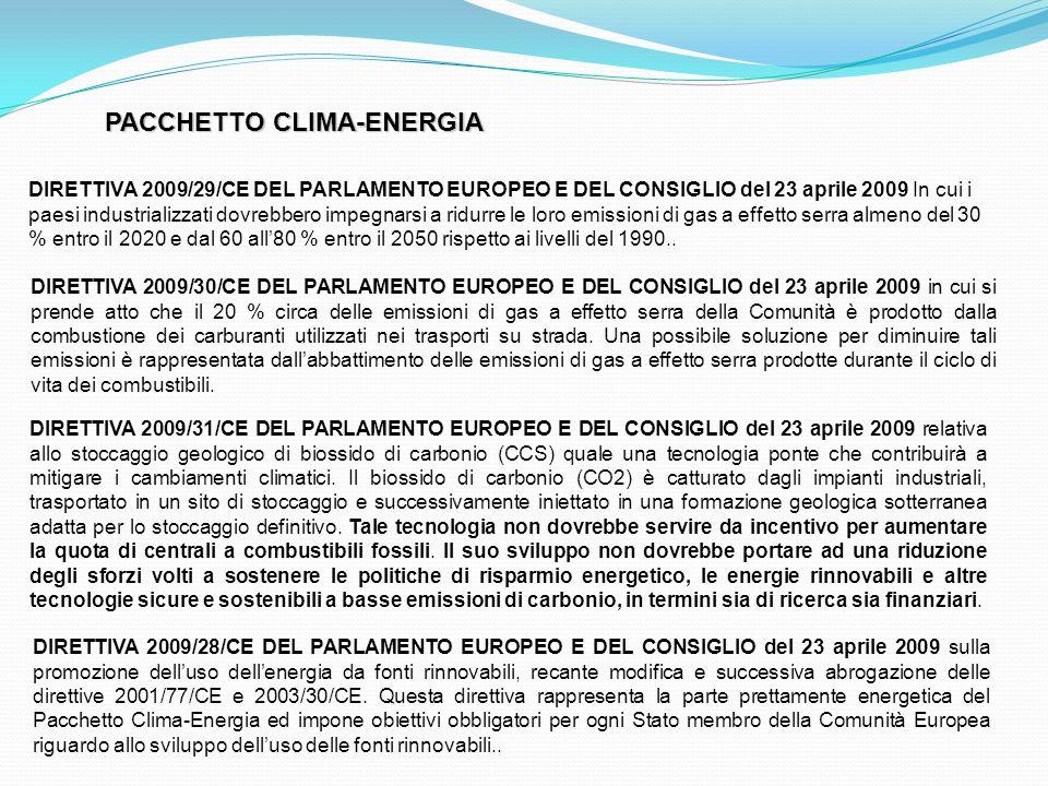 PACCHETTO CLIMA-ENERGIA DIRETTIVA 2009/29/CE DEL PARLAMENTO EUROPEO E DEL CONSIGLIO del 23 aprile 2009 In cui i paesi industrializzati dovrebbero impe