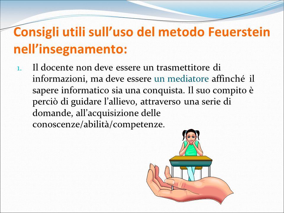Consigli utili sulluso del metodo Feuerstein nellinsegnamento: 1. Il docente non deve essere un trasmettitore di informazioni, ma deve essere un media