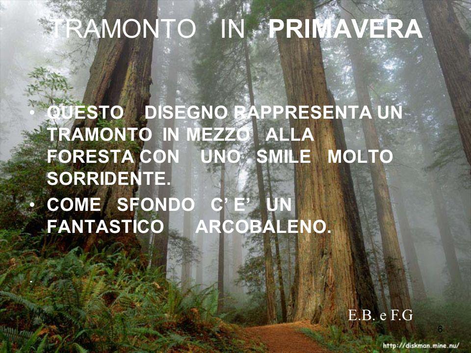 6 TRAMONTO IN PRIMAVERA QUESTO DISEGNO RAPPRESENTA UN TRAMONTO IN MEZZO ALLA FORESTA CON UNO SMILE MOLTO SORRIDENTE.