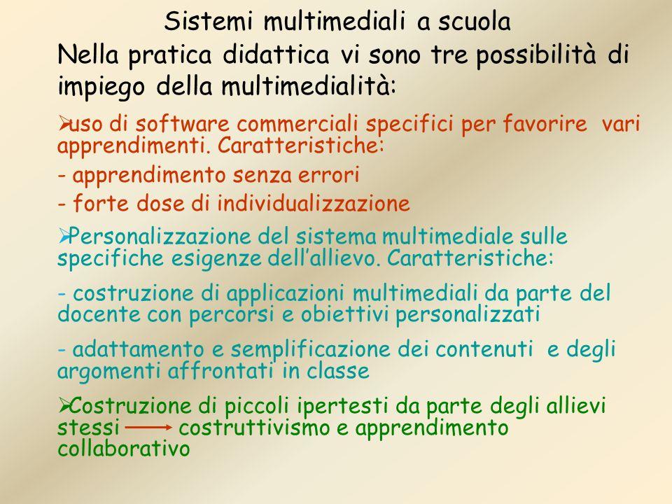 Sistemi multimediali a scuola Nella pratica didattica vi sono tre possibilità di impiego della multimedialità: uso di software commerciali specifici p
