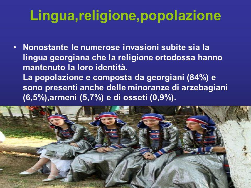 Lingua,religione,popolazione Nonostante le numerose invasioni subite sia la lingua georgiana che la religione ortodossa hanno mantenuto la loro identità.