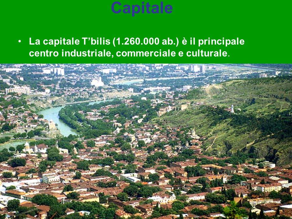 Capitale La capitale Tbilis (1.260.000 ab.) è il principale centro industriale, commerciale e culturale.