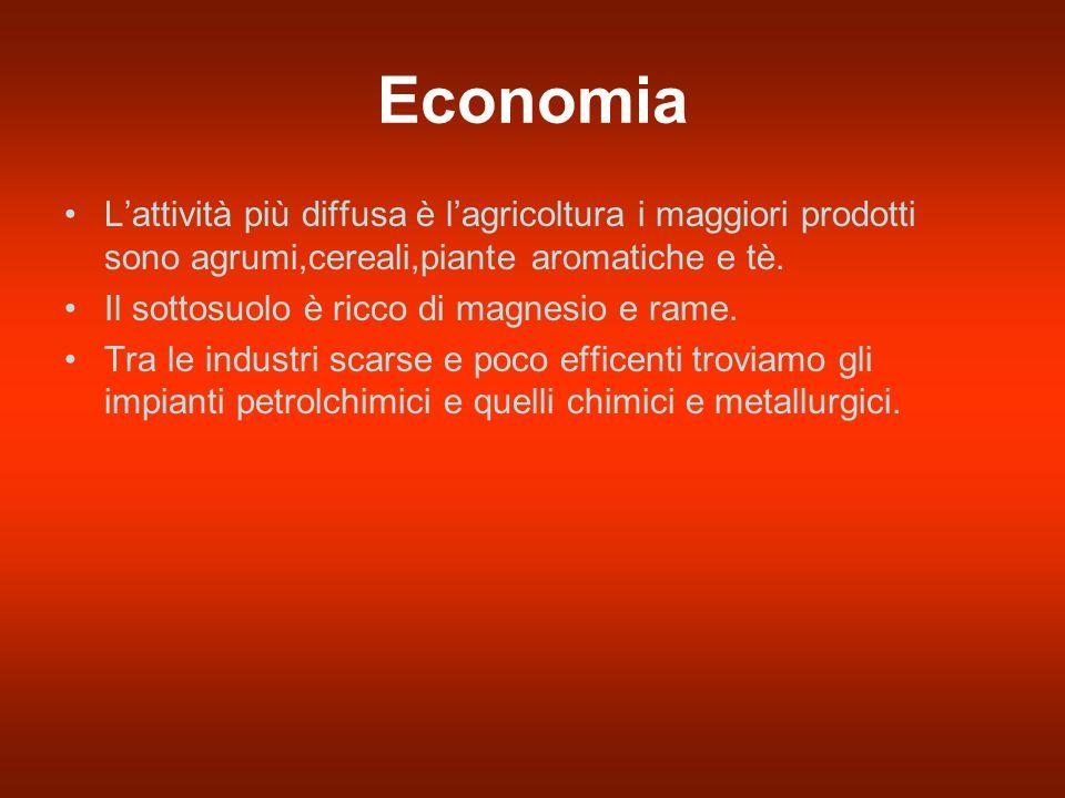 Economia Lattività più diffusa è lagricoltura i maggiori prodotti sono agrumi,cereali,piante aromatiche e tè.