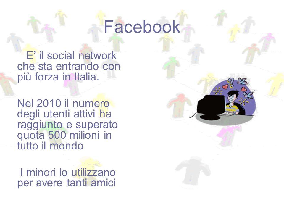 E il social network che sta entrando con più forza in Italia. Nel 2010 il numero degli utenti attivi ha raggiunto e superato quota 500 milioni in tutt