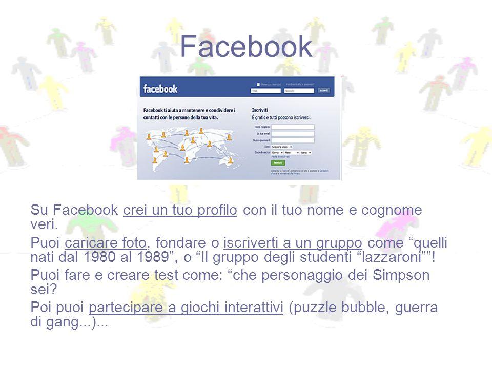Facebook Su Facebook crei un tuo profilo con il tuo nome e cognome veri. Puoi caricare foto, fondare o iscriverti a un gruppo come quelli nati dal 198