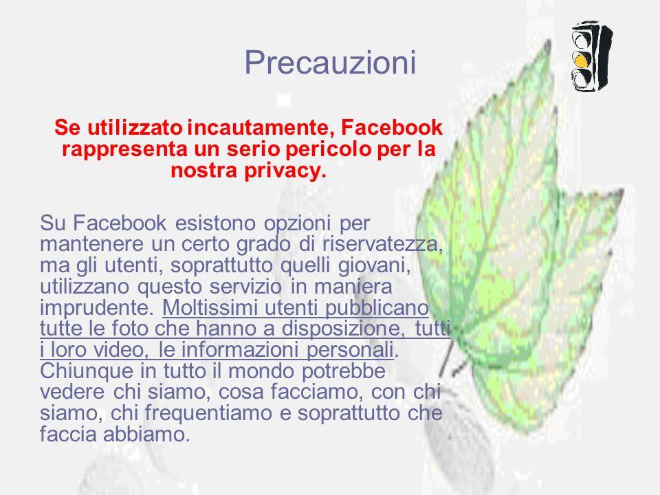 Precauzioni Se utilizzato incautamente, Facebook rappresenta un serio pericolo per la nostra privacy. Su Facebook esistono opzioni per mantenere un ce