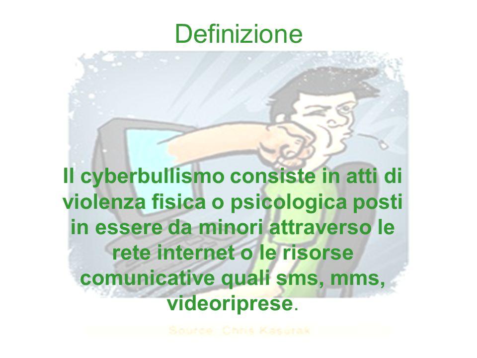 Definizione Il cyberbullismo consiste in atti di violenza fisica o psicologica posti in essere da minori attraverso le rete internet o le risorse comu