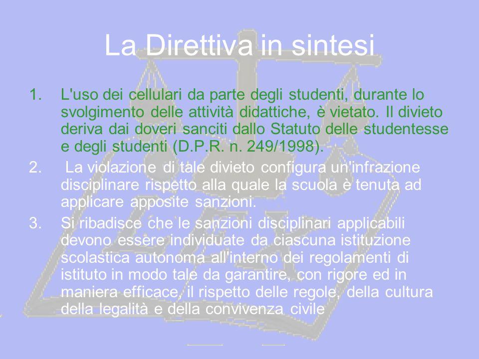 La Direttiva in sintesi 1.L'uso dei cellulari da parte degli studenti, durante lo svolgimento delle attività didattiche, è vietato. Il divieto deriva