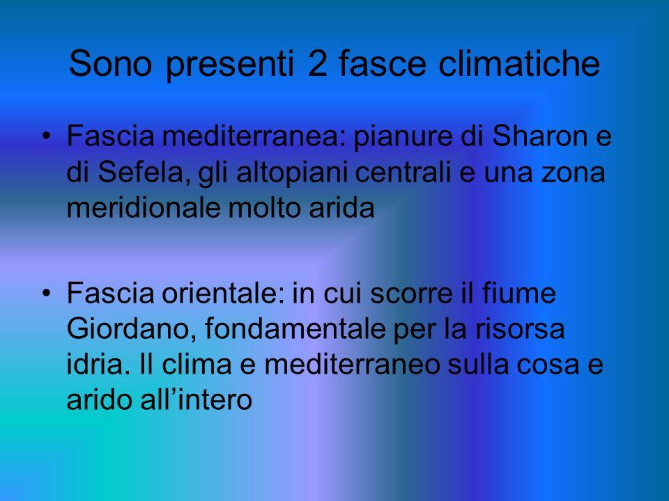 Sono presenti 2 fasce climatiche Fascia mediterranea: pianure di Sharon e di Sefela, gli altopiani centrali e una zona meridionale molto arida Fascia