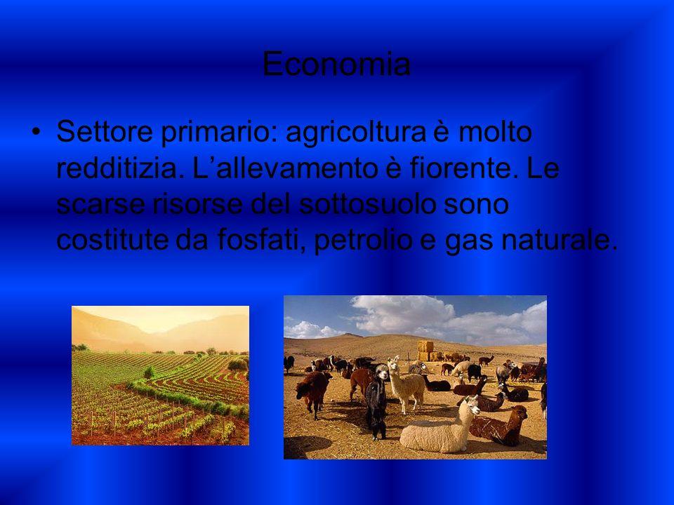 Economia Settore primario: agricoltura è molto redditizia. Lallevamento è fiorente. Le scarse risorse del sottosuolo sono costitute da fosfati, petrol