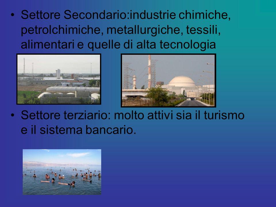 Settore Secondario:industrie chimiche, petrolchimiche, metallurgiche, tessili, alimentari e quelle di alta tecnologia Settore terziario: molto attivi sia il turismo e il sistema bancario.