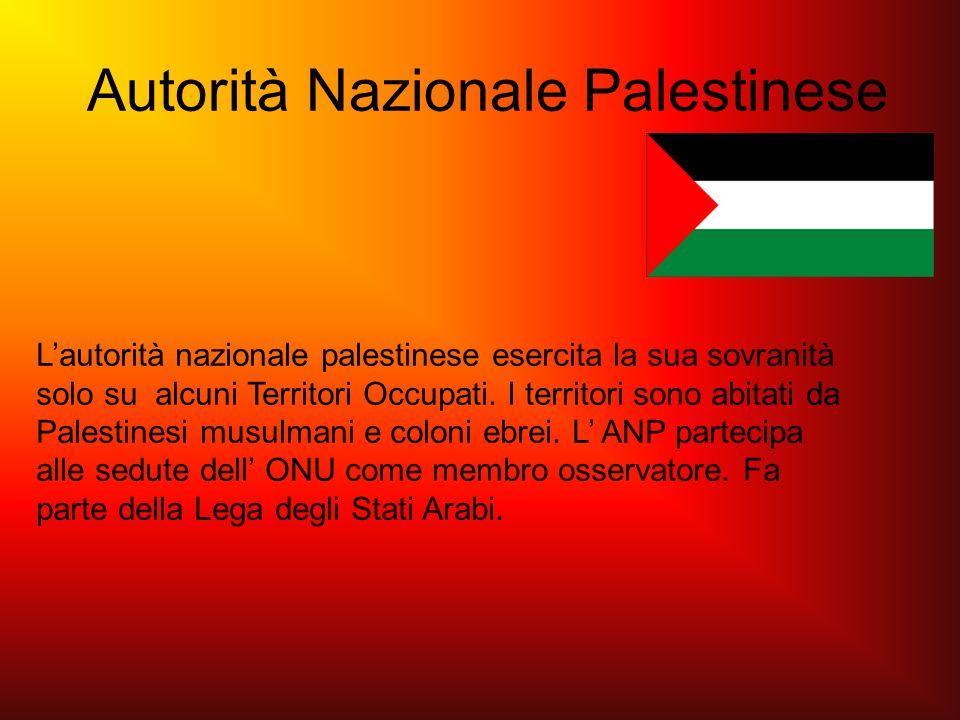 Autorità Nazionale Palestinese Lautorità nazionale palestinese esercita la sua sovranità solo su alcuni Territori Occupati. I territori sono abitati d