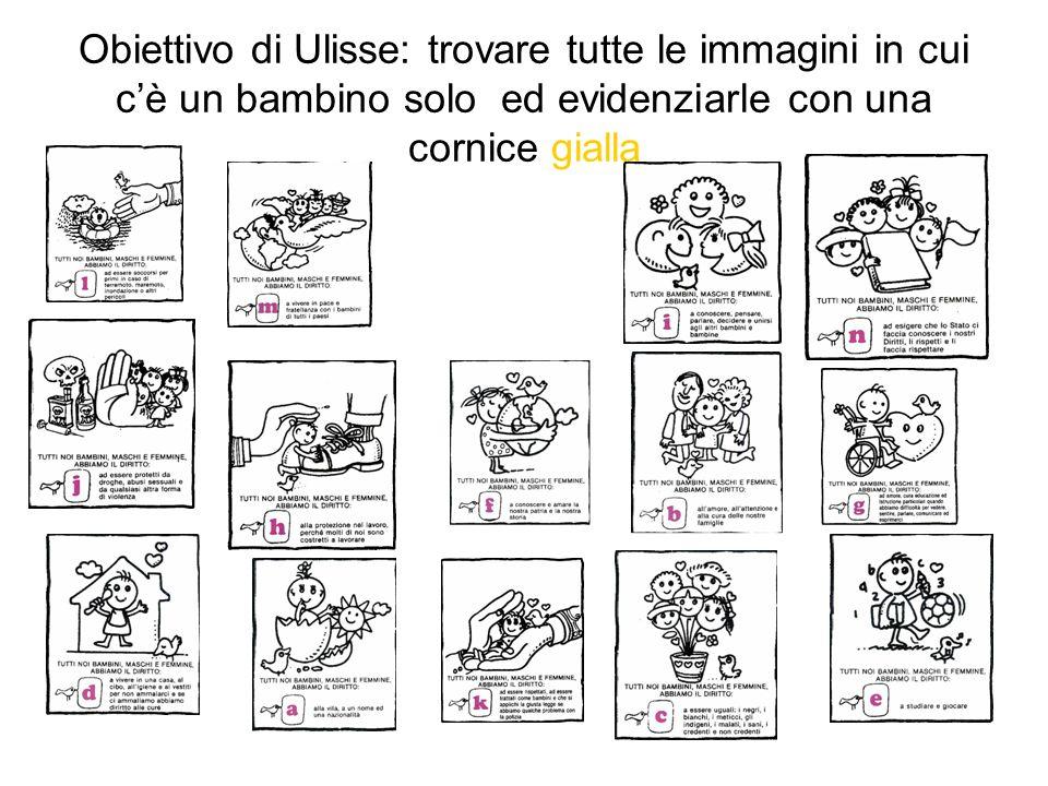 Obiettivo di Ulisse: trovare tutte le immagini in cui cè un bambino solo ed evidenziarle con una cornice gialla