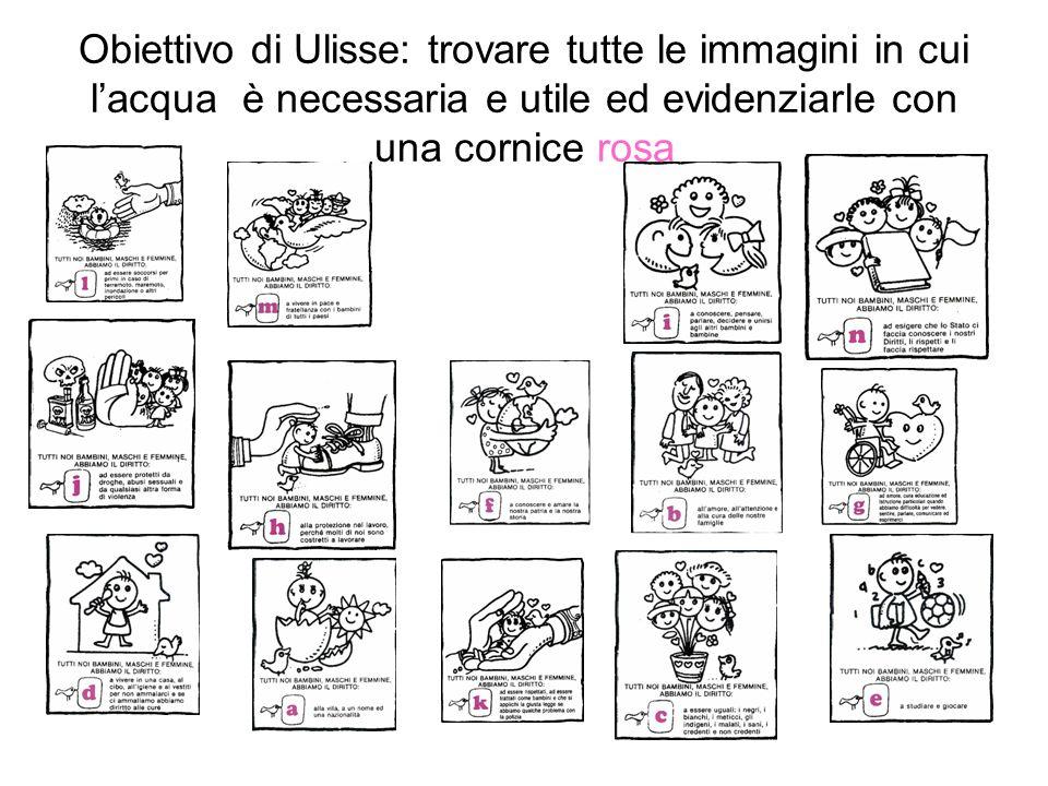Obiettivo di Ulisse: trovare tutte le immagini in cui lacqua è necessaria e utile ed evidenziarle con una cornice rosa