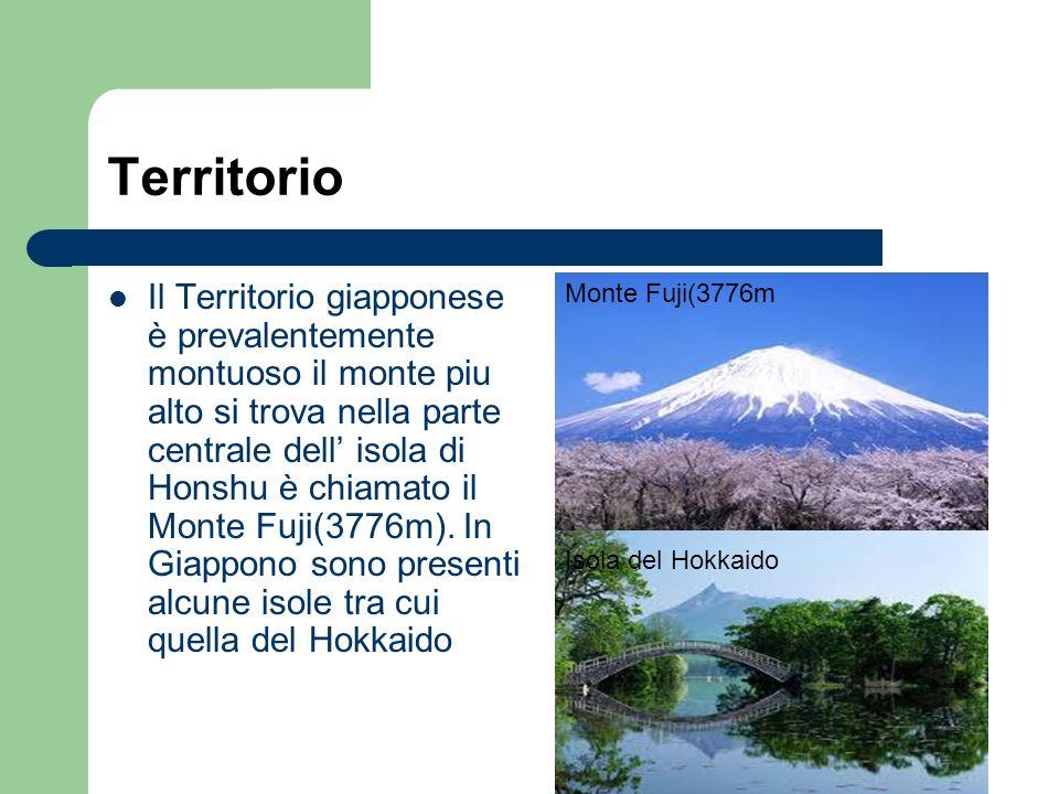 Territorio Il Territorio giapponese è prevalentemente montuoso il monte piu alto si trova nella parte centrale dell isola di Honshu è chiamato il Mont