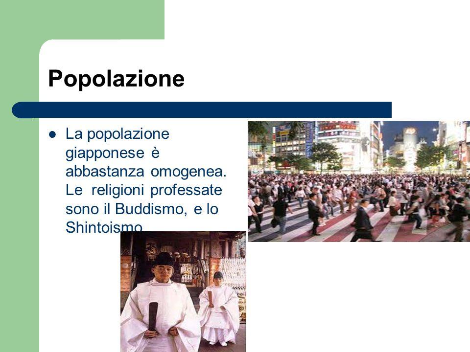 Popolazione La popolazione giapponese è abbastanza omogenea. Le religioni professate sono il Buddismo, e lo Shintoismo