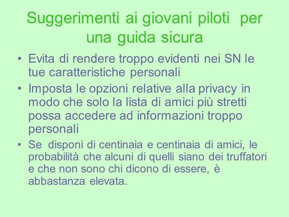 Suggerimenti ai giovani piloti per una guida sicura Evita di rendere troppo evidenti nei SN le tue caratteristiche personali Imposta le opzioni relati