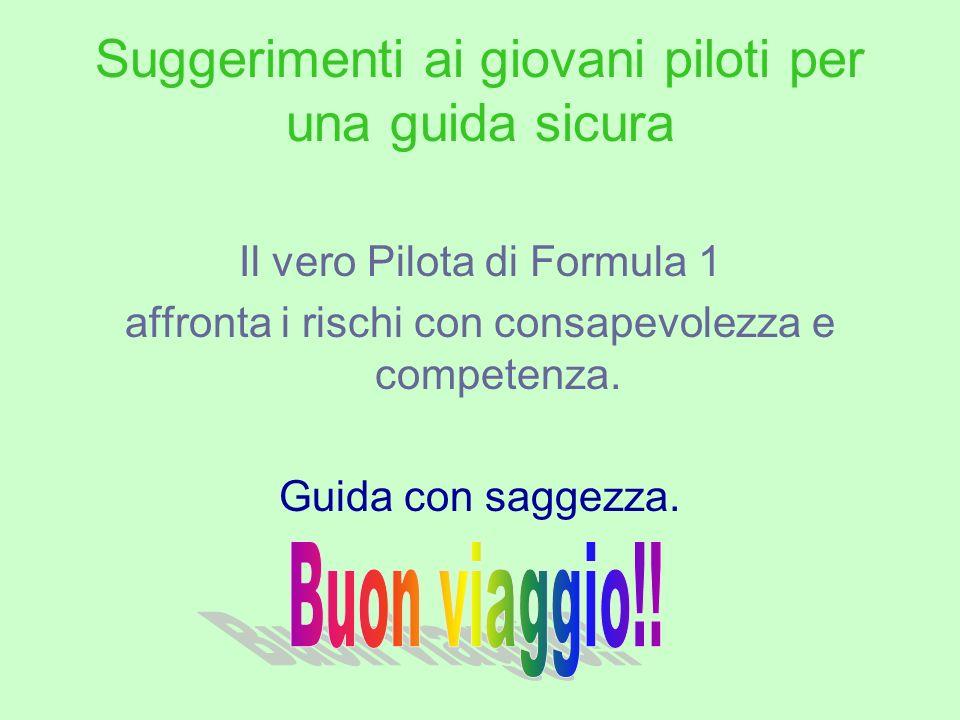 Suggerimenti ai giovani piloti per una guida sicura Il vero Pilota di Formula 1 affronta i rischi con consapevolezza e competenza. Guida con saggezza.