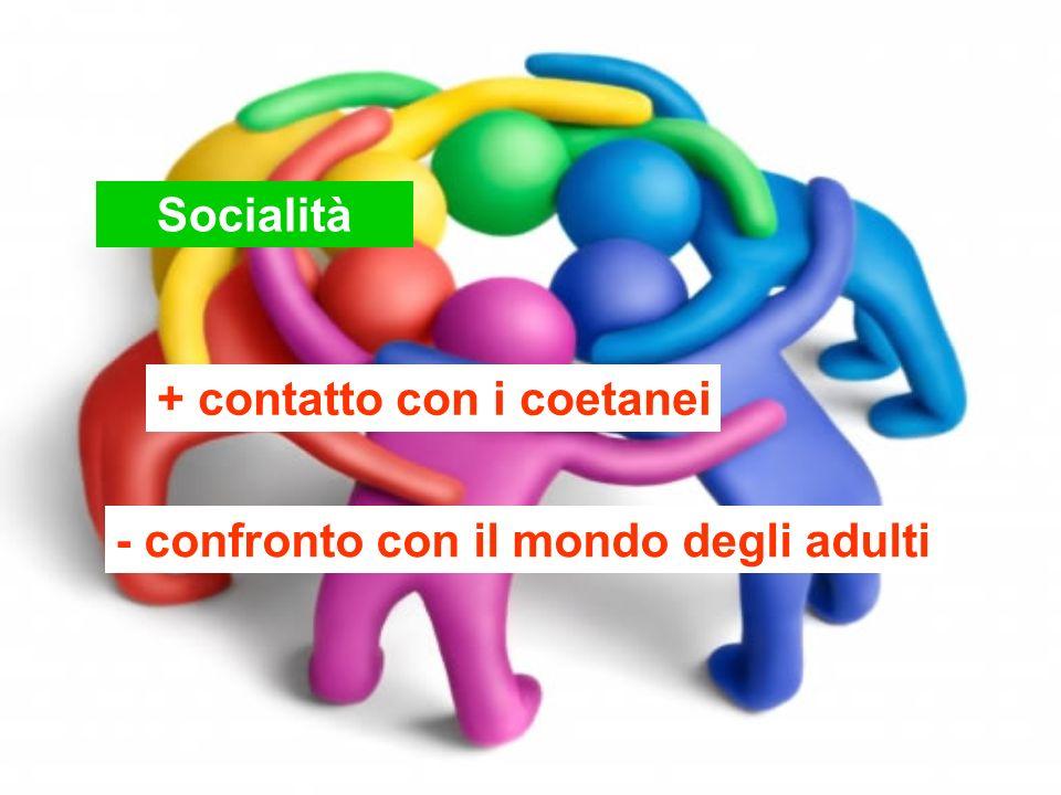 Socialità + contatto con i coetanei - confronto con il mondo degli adulti