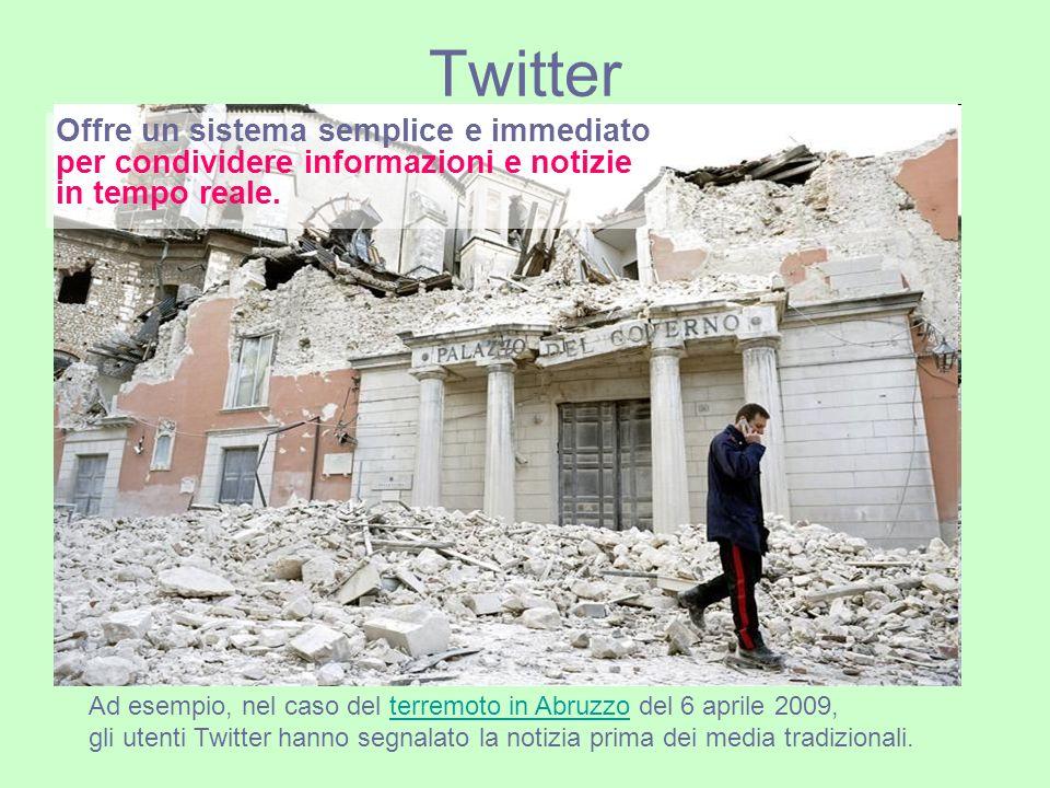 Twitter Offre un sistema semplice e immediato per condividere informazioni e notizie in tempo reale.