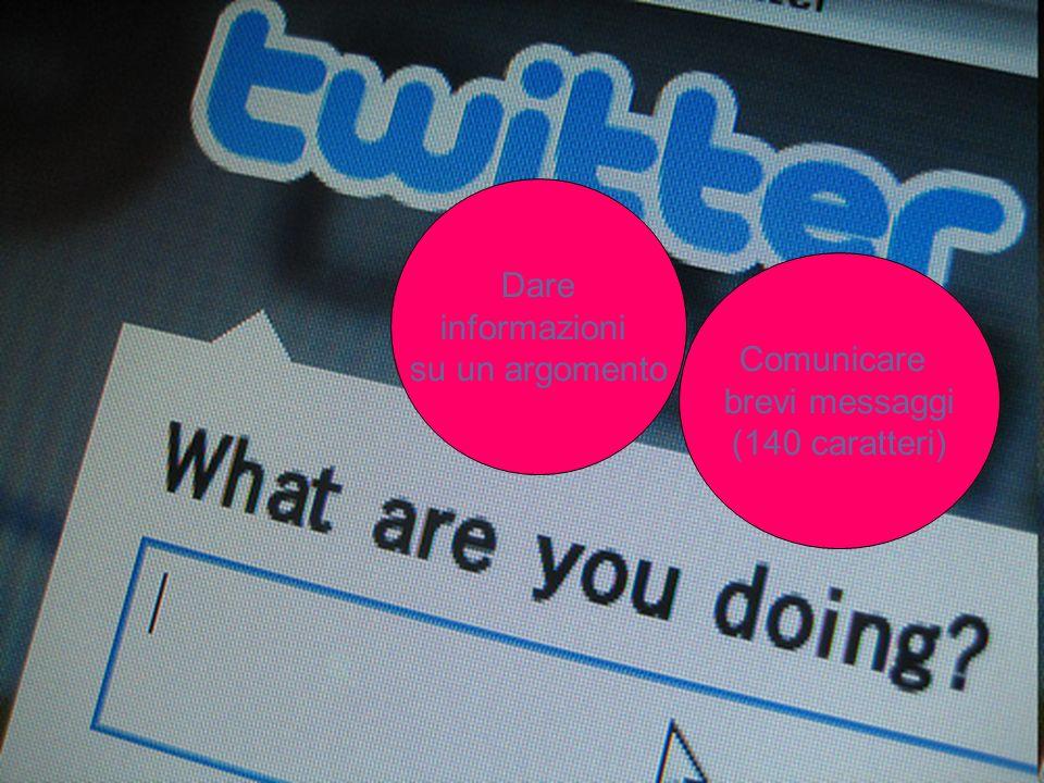Comunicare brevi messaggi (140 caratteri) Dare informazioni su un argomento
