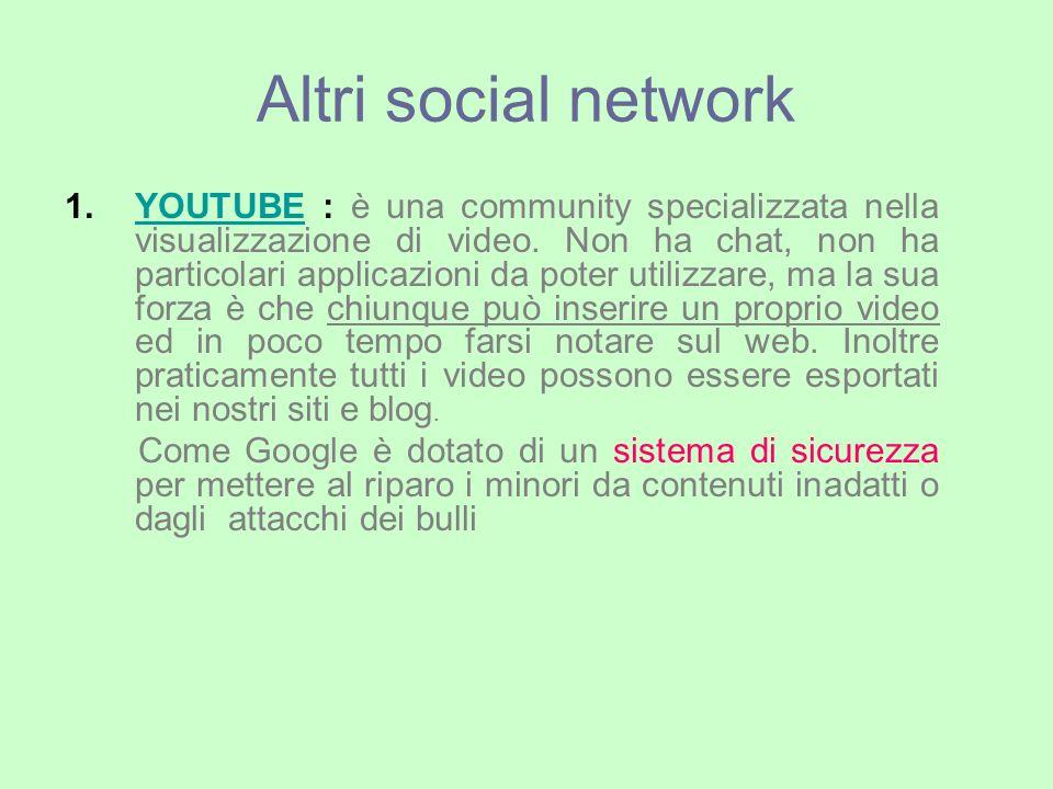 Altri social network 1.YOUTUBE : è una community specializzata nella visualizzazione di video.