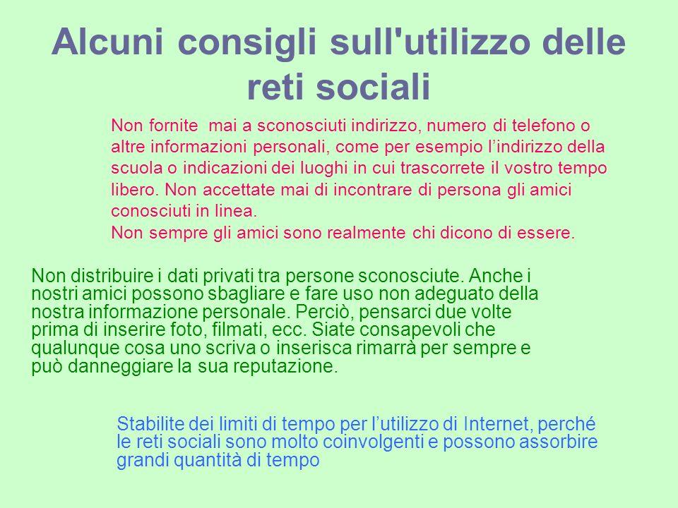 Alcuni consigli sull utilizzo delle reti sociali Non distribuire i dati privati tra persone sconosciute.