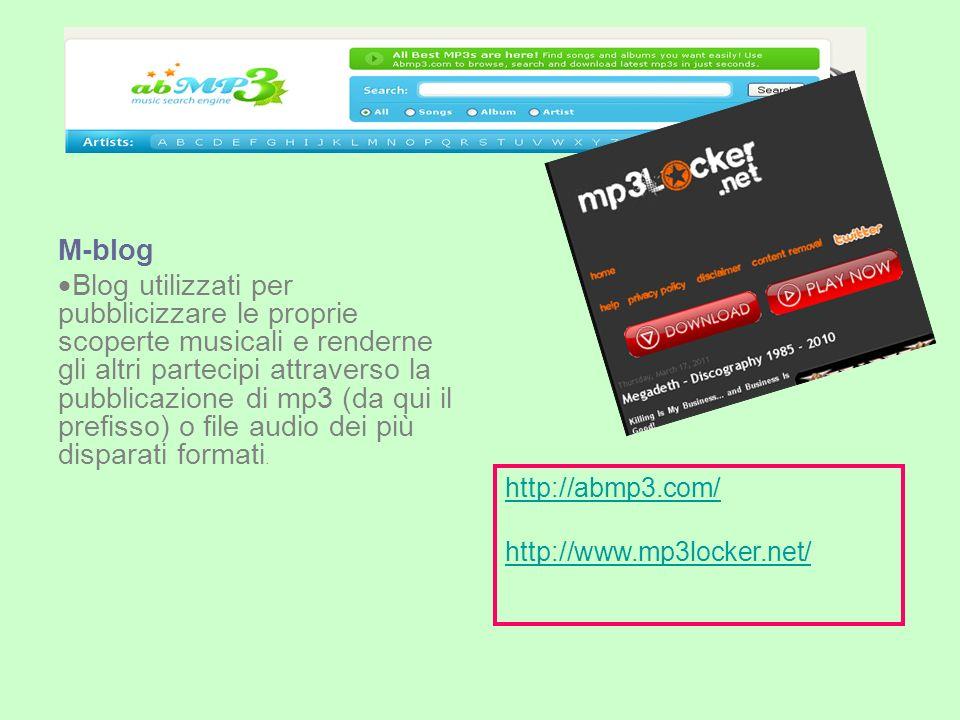 M-blog Blog utilizzati per pubblicizzare le proprie scoperte musicali e renderne gli altri partecipi attraverso la pubblicazione di mp3 (da qui il prefisso) o file audio dei più disparati formati.