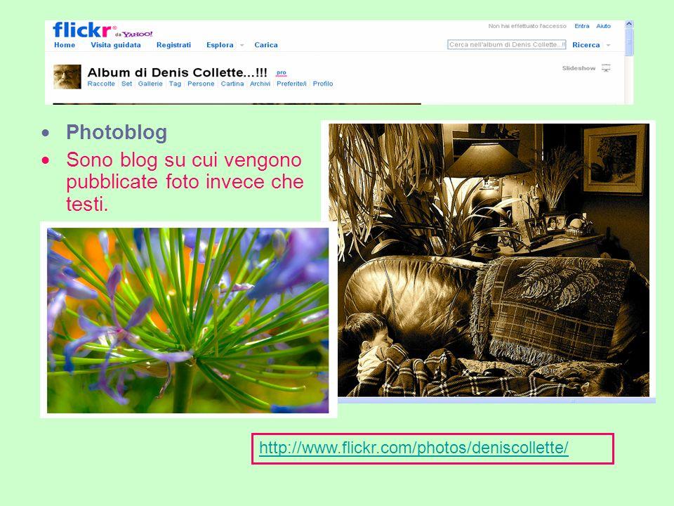 Photoblog Sono blog su cui vengono pubblicate foto invece che testi.
