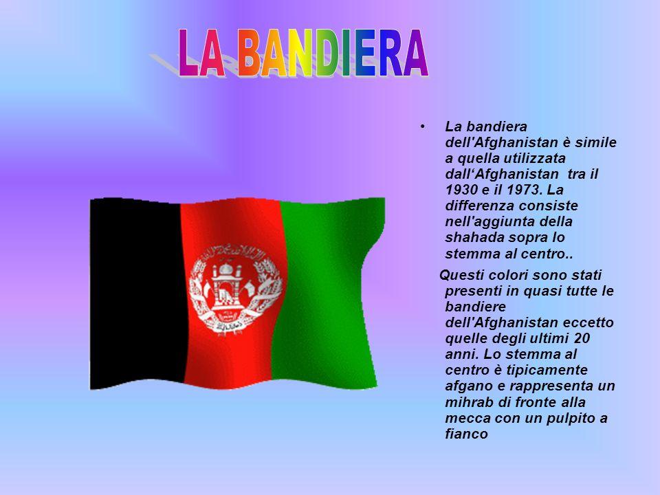 . La bandiera dell'Afghanistan è simile a quella utilizzata dallAfghanistan tra il 1930 e il 1973. La differenza consiste nell'aggiunta della shahada