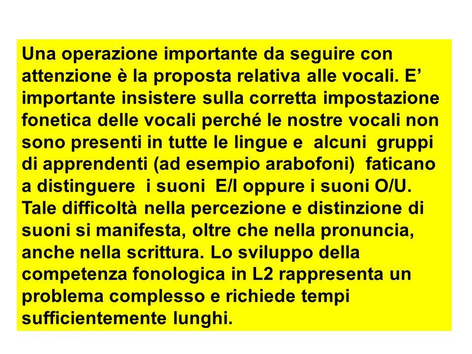 Una operazione importante da seguire con attenzione è la proposta relativa alle vocali. E importante insistere sulla corretta impostazione fonetica de