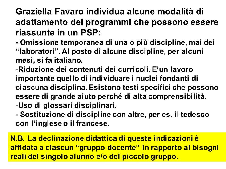 Graziella Favaro individua alcune modalità di adattamento dei programmi che possono essere riassunte in un PSP: - Omissione temporanea di una o più di