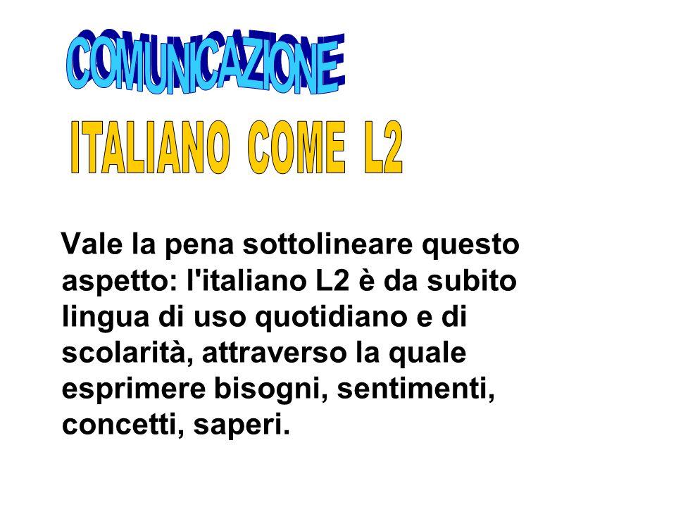 Vale la pena sottolineare questo aspetto: l'italiano L2 è da subito lingua di uso quotidiano e di scolarità, attraverso la quale esprimere bisogni, se