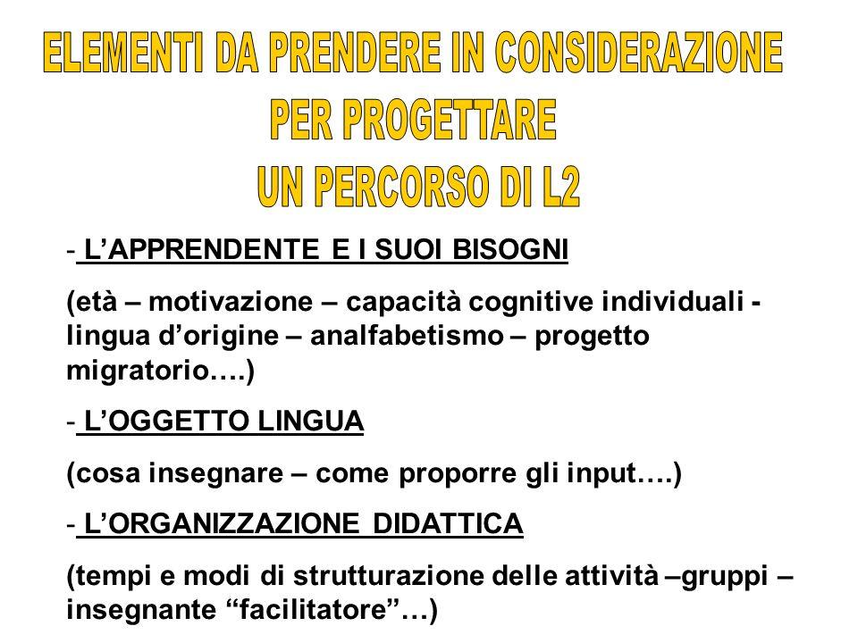 - LAPPRENDENTE E I SUOI BISOGNI (età – motivazione – capacità cognitive individuali - lingua dorigine – analfabetismo – progetto migratorio….) - LOGGE