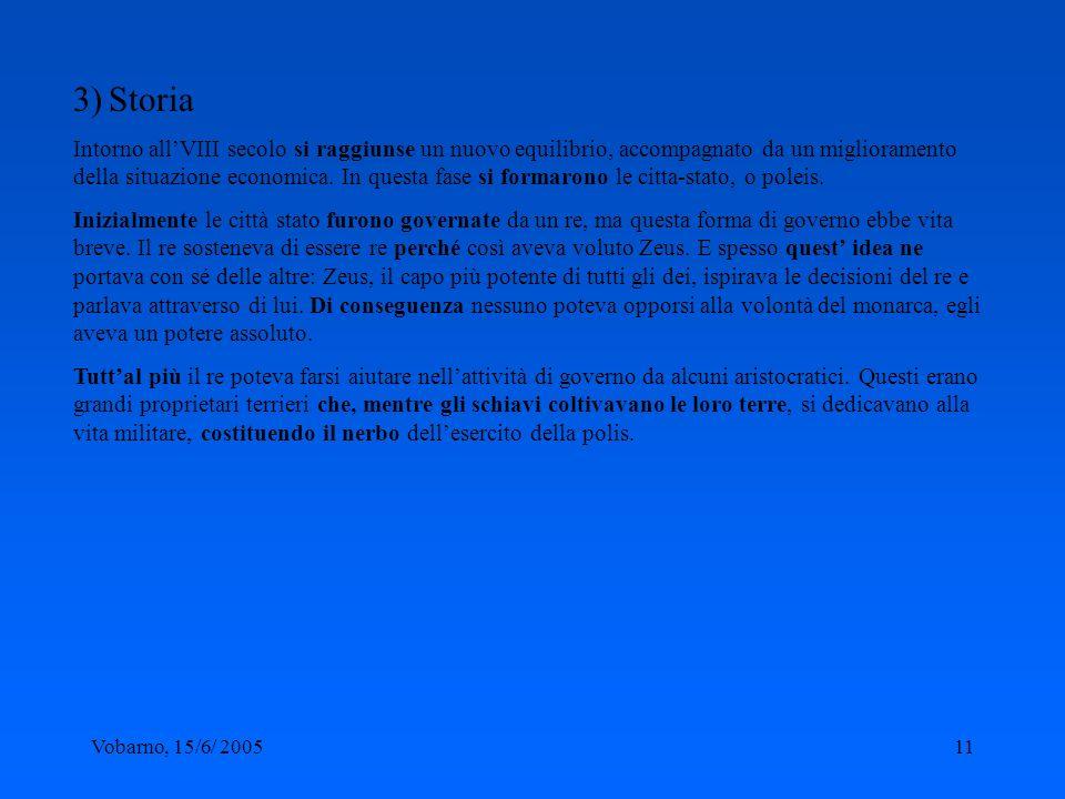 Vobarno, 15/6/ 200511 3) Storia Intorno allVIII secolo si raggiunse un nuovo equilibrio, accompagnato da un miglioramento della situazione economica.