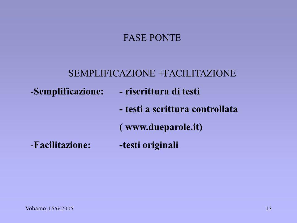 Vobarno, 15/6/ 200513 FASE PONTE SEMPLIFICAZIONE +FACILITAZIONE -Semplificazione: - riscrittura di testi - testi a scrittura controllata ( www.dueparo