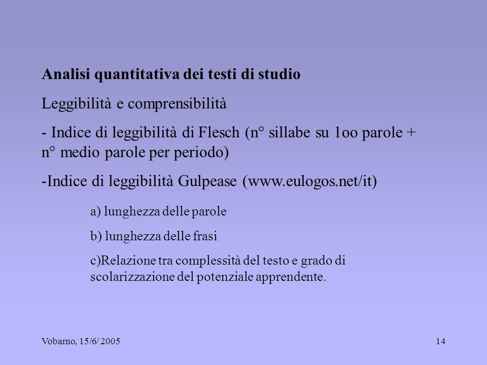 Vobarno, 15/6/ 200514 Analisi quantitativa dei testi di studio Leggibilità e comprensibilità - Indice di leggibilità di Flesch (n° sillabe su 1oo paro
