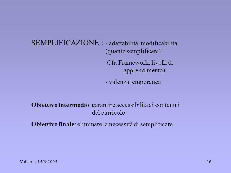 Vobarno, 15/6/ 200516 SEMPLIFICAZIONE : - adattabilità, modificabilità (quanto semplificare? Cfr. Framework, livelli di apprendimento) - valenza tempo