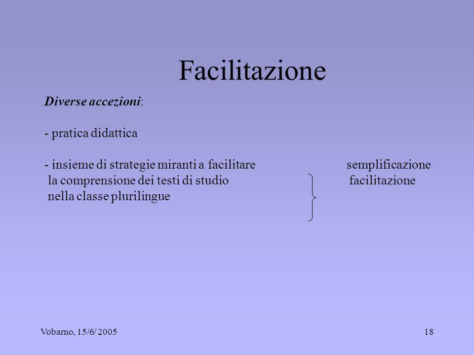 Vobarno, 15/6/ 200518 Diverse accezioni: - pratica didattica - insieme di strategie miranti a facilitare semplificazione la comprensione dei testi di