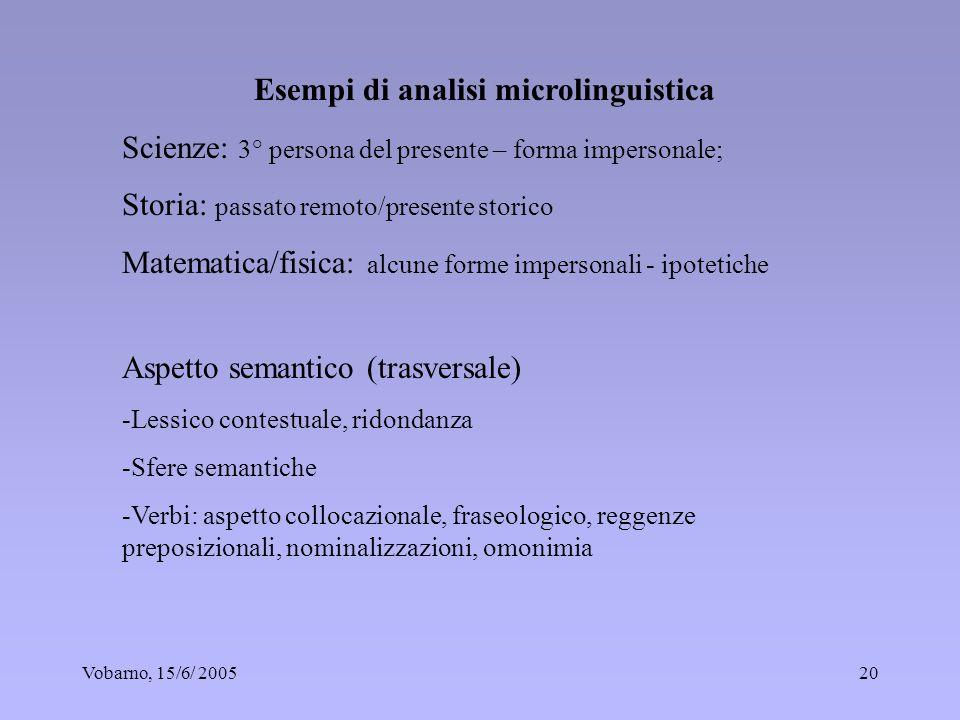 Vobarno, 15/6/ 200520 Esempi di analisi microlinguistica Scienze: 3° persona del presente – forma impersonale; Storia: passato remoto/presente storico