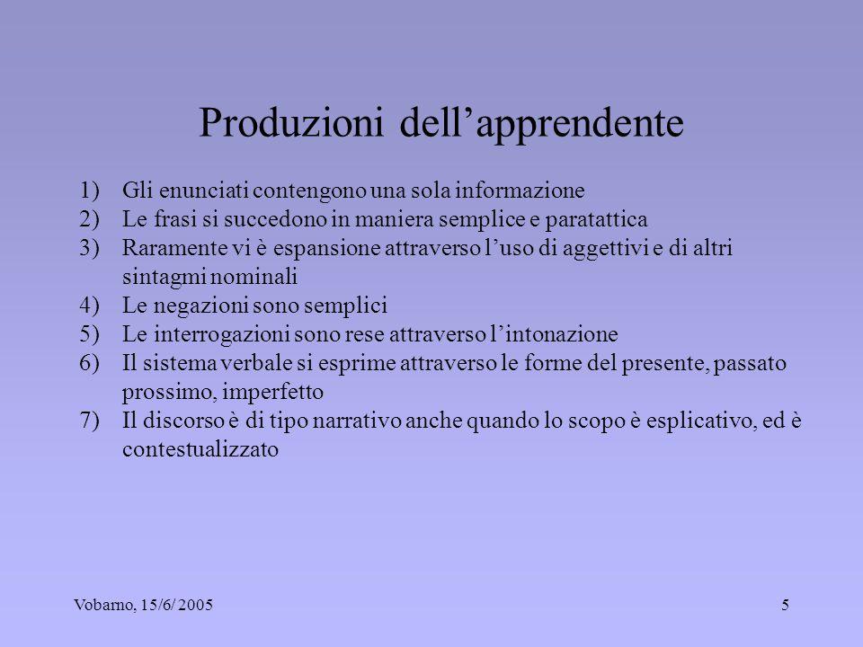 Vobarno, 15/6/ 20055 Produzioni dellapprendente 1)Gli enunciati contengono una sola informazione 2)Le frasi si succedono in maniera semplice e paratat