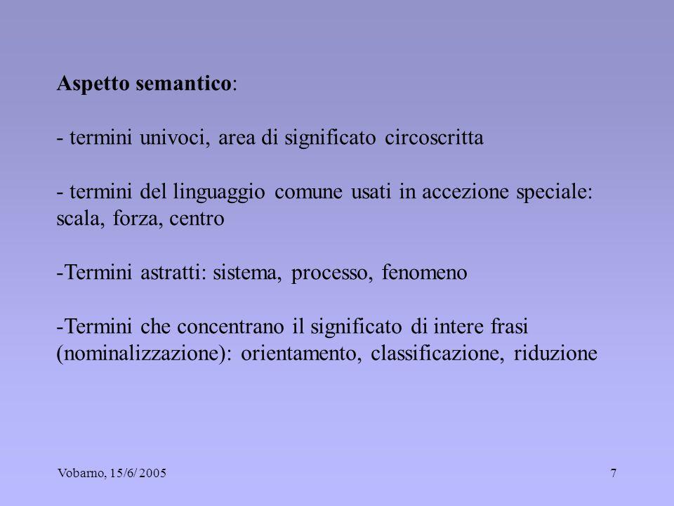Vobarno, 15/6/ 20057 Aspetto semantico: - termini univoci, area di significato circoscritta - termini del linguaggio comune usati in accezione special