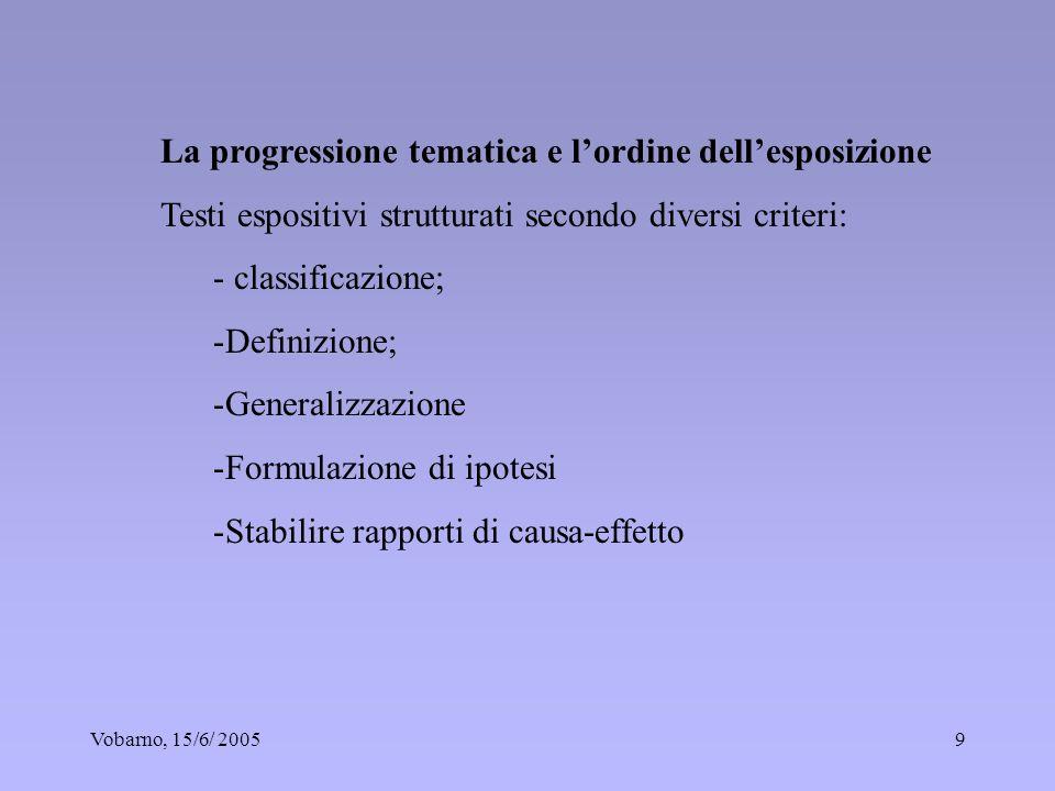 Vobarno, 15/6/ 20059 La progressione tematica e lordine dellesposizione Testi espositivi strutturati secondo diversi criteri: - classificazione; -Defi
