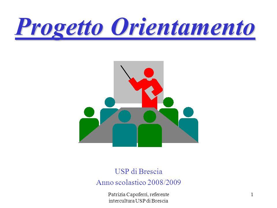 Patrizia Capoferri, referente intercultura USP di Brescia 1 Progetto Orientamento USP di Brescia Anno scolastico 2008/2009