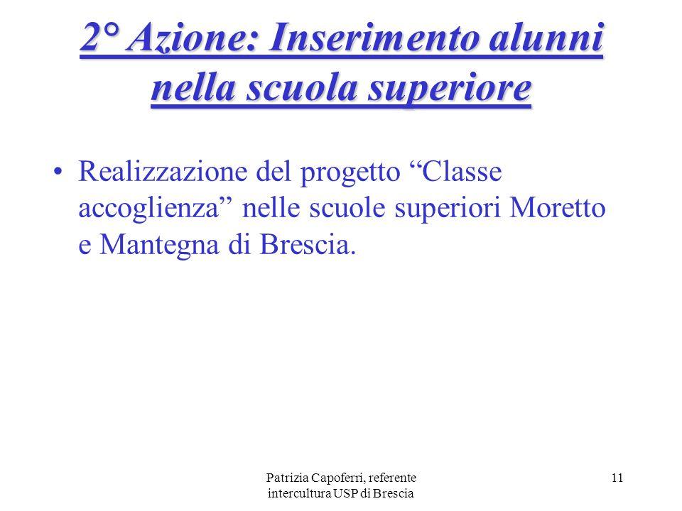 Patrizia Capoferri, referente intercultura USP di Brescia 11 Realizzazione del progetto Classe accoglienza nelle scuole superiori Moretto e Mantegna d