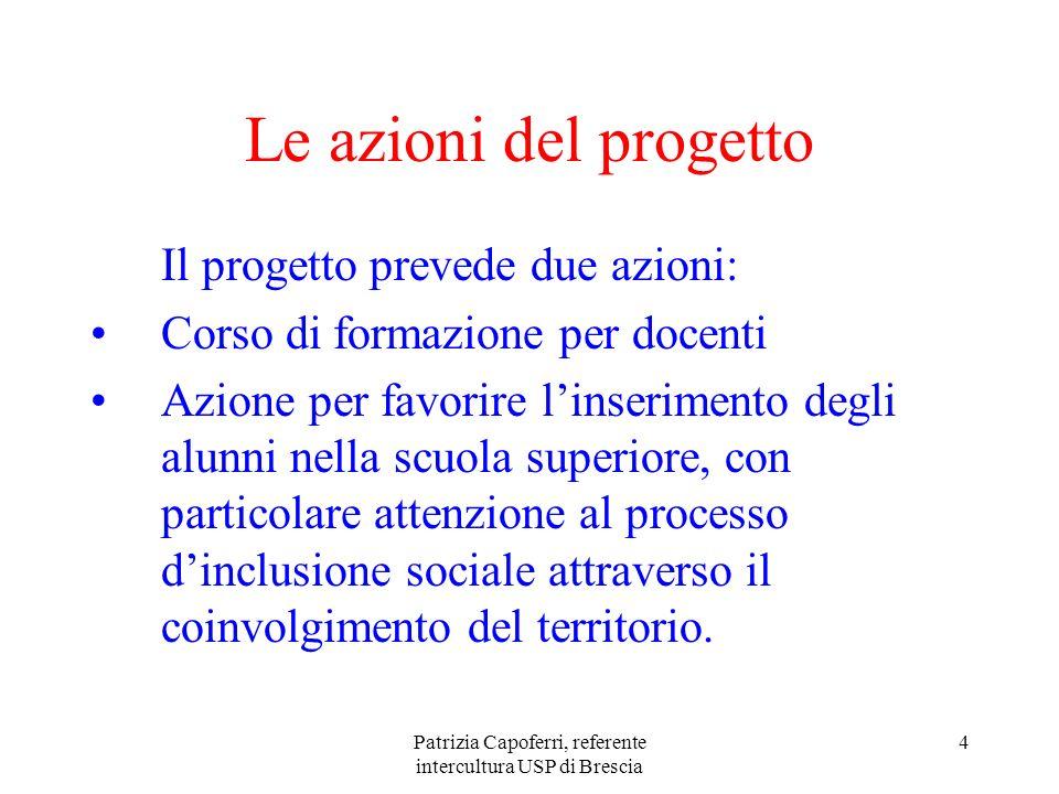 Patrizia Capoferri, referente intercultura USP di Brescia 4 Le azioni del progetto Il progetto prevede due azioni: Corso di formazione per docenti Azi